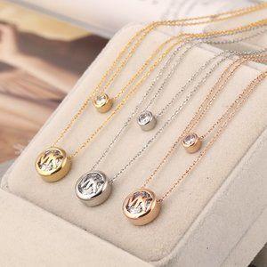 Michael Kors Double Logo Round Zircon Necklace